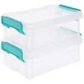 Two Mini Stackable Storage Containers, Clear & Turquoise, 3 3/4 x 6 x 2 1/4 inches