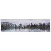 Tree and Lake View Wall Decor, Canvas, Gray, 6 x 23 3/8 x 1 1/4 inches