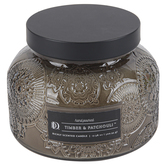 Darsee & David's, Timber & Patchouli Jar Candle, Brown and Black, 18 ounces
