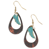 Wildflower Road, Hoop with Patina Angel Wing Earrings, Leather and Zinc Alloy, Gold