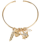 Bella Grace, Shine Heart, Bird, and Feather Wire Charm Bracelet, Brass, Gold, 2 1/2 inch diameter