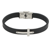 H.J. Sherman, Textured Leather Cross Bracelet, Leather and Stainless Steel, Black and Silver, 2 3/4 inches