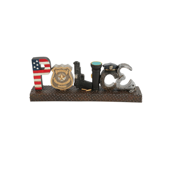 Police Icon Word Table Decor, Resin, Multi Colored, 11 3/4 x 4 1/2 x 2 1/2 inches