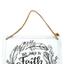 Open Road Brands, 2 Corinthians 5:7 We Walk By Faith Wall Sign, Metal, White, 6 x 6 inches