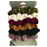 Fashion Tid Bits, Skinny Velvet Ruffled Hair Scrunchies, Assorted Colors, 1 Each of 6 Designs