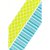 Isabella Collection, Wide Double-Sided Border Trim, 38 Feet, Green Quatrefoil and Blue Stripe