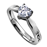 Spirit & Truth, True Love Waits, Heart Solitaire Purity Ring, Stainless Steel, Sizes 5-9