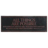 LCP Gifts, Matthew 19:26 All Things Are Possible Desktop Plaque, Copper, 6 1/2 x 2 x 2 1/4   inches