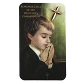 Roman, Inc, First Communion Cross Lapel Pin for Boys with Card, Gold, 3/4 x 1/4 inch