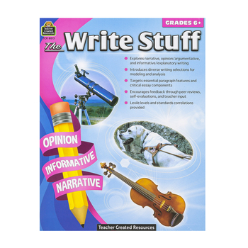 Teacher Created Resources, The Write Stuff 6 Resource Book, 160 Pages, Grade 6 and up