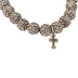 Bella Grace, Beaded Stretch Bracelet with Cross Charm, Glass and Zinc Alloy, Silver