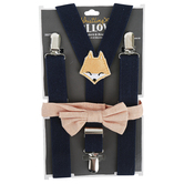 Whistling Willow, Fox Bow Tie and Suspender Set, Navy, 0 to 12 Months, 2 Pieces