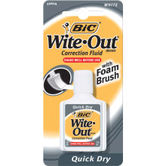 Bic, Quick Dry Wite-Out Foam Brush, 20 mL, White, Pack of 1