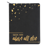 Renewing Faith, Seek Him Above All Else Deluxe Zippered 17-Month 2021 Planner, Flexcover, Black, 7 x 9 1/4 inches