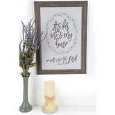 Joshua 24:15 Framed Wall Plaque, MDF Wood, White and Natural, 20 x 14 inches