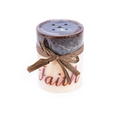Scented Malted Cream Faith Pillar Candle, Brown and Cream, 3 x 4 inches