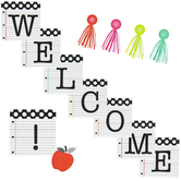 Schoolgirl Style, Black, White and Stylish Brights Welcome Bulletin Board Set, Multi-Colored, 18 Pieces