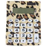 Fiddlestix Paperie, Desk Calculator, Leopard Print, 3 3/4 x 5 inches
