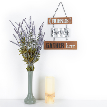 Friends Family Gather Here Wall Decor, Wood and Metal, Brown and Silver, 14 1/2 x 9 7/8 inches