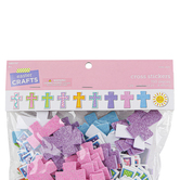 Easter Foam Cross Stickers, Assorted Colors, 1 1/4 – 1 3/4 Inches, 150 Count