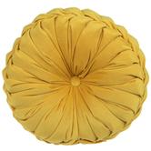 Mustard Velvet Round Textured Pillow, Polyester, 15-inch Diameter x 5.37 Inches
