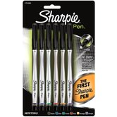 Sharpie, Permanent Pens, Fine Point, Assorted Colors, Pack of 6