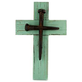 Simple Wood Wall Cross with Spikes, Turquoise, 12 x 7 5/8 inches