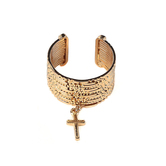 Radiant Sol, Gold Cross Stacked Ring Set, Brass and Zinc Alloy, Gold