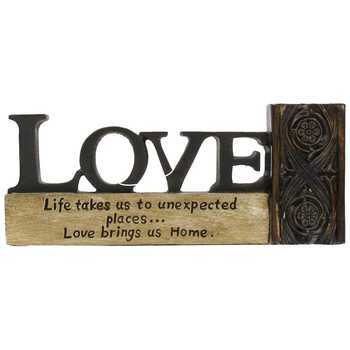Love Brings Us Home Tabletop Plaque, Resin, Tan and Copper, 6 1/4 x 2 1/2 inches