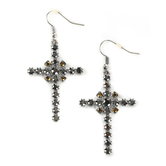 Faithful and Fabulous, Iridescent Cross Dangle Earrings, Zinc Alloy and Glass, Silver