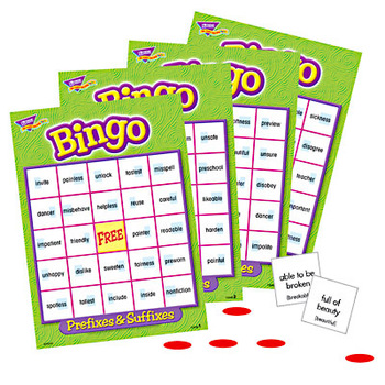 Trend, Prefixes and Suffixes Bingo Game, Ages 8 Years and Older, 3 to 36 Players