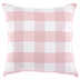 Pink and White Buffalo Check Square Pillow, Polyester and Cotton, 20 x 20 x 6 inches