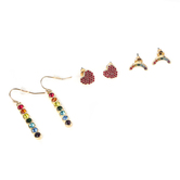 Faithful and Fabulous, Rainbow and Heart Earring Set, Iron and Glass, Gold, 3 Pairs