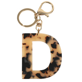 D Letter Keychain, Leopard, 2 3/4 x 2 1/4 Inches