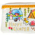 Natural Life, Happy Camper ID Pouch, Cotton, White/Yellow, 3 1/2 x 5 1/2 Inches