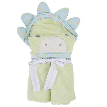 Stephen Joseph, Dino Hooded Bath Towel for Babies, Cotton, Green, 29 x 29 inches