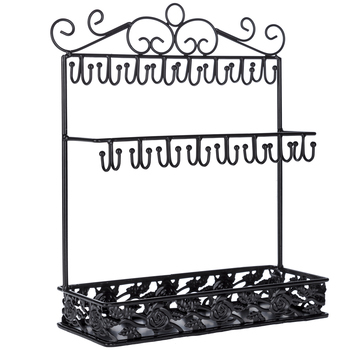 Jewelry Organizer with Hooks and Decorative Tray, Black, 12 1/2 x 10 3/8 inches