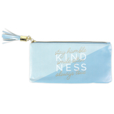 the Paper Studio, Kindness Pencil Pouch, Imitation Leather, Blue, 4 1/4 x 8 inches