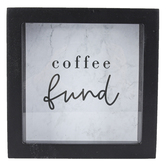 Coffee Fund Shadowbox Coin Bank, MDF and Glass, Black, 6 1/2 x 6 1/2 x 2 inches
