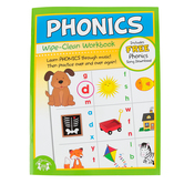 Twin Sisters, Phonics Wipe-Clean Activity Book, 15 Pages, Grades K-2