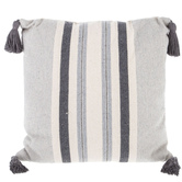 Striped Pattern Square Pillow with Tassels, Cotton, White and Gray, 19 x 19 x 7 inches