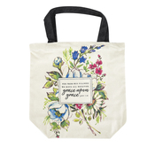 Christian Art Gifts, John 1:16 Grace Upon Grace Tote Bag, Canvas, White, 15 x 14 1/2 x 5 inches