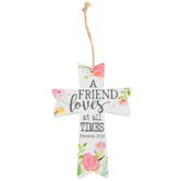 Proverbs 17:17 Hanging Floral Mini Cross, MDF Wood, White, 4 x 5 3/4 inches