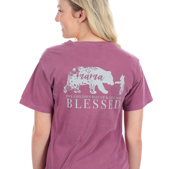 Beautifully Blessed, Mama Bear, Women's Short Sleeve T-Shirt, Berry, Small