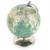 Blue and Silver Decorative World Globe, 4.75 x 7.50 x 8.75 Inches