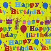 Brother Sister Design Studio, Birthday Gift Wrap, Yellow and Multicolored, 50 square feet