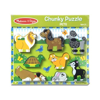 Melissa & Doug, Pets Chunky Wooden Puzzle, Ages 2 to 4 Years Old, 8 Pieces