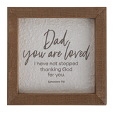 Christian Brands, Dad You Are Loved Wall Decor, Wood, Brown, 5 x 5 x 7/8 inches