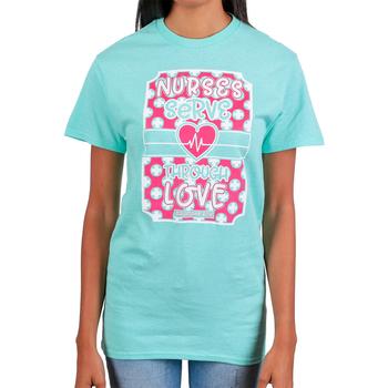 Rooted Soul, Galatians 5:13 Nurses Serve Through Love, Women's Short Sleeve T-Shirt, Mint Green, S-2XL