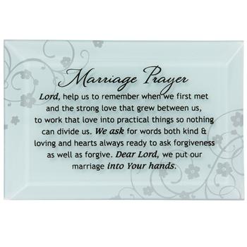 Dexsa, Marriage Prayer - Glass Plaque, White/Silver, 4 x 6 Inches